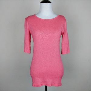 Michael Stars Pink Shimmering Lightweight Knit Top